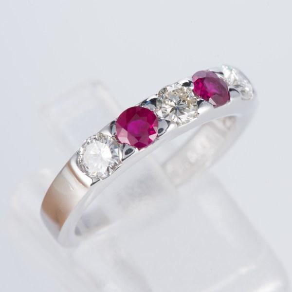 ルビーxダイヤモンド プラチナリング R: 0.43 ct D: 0.55ct Pt900