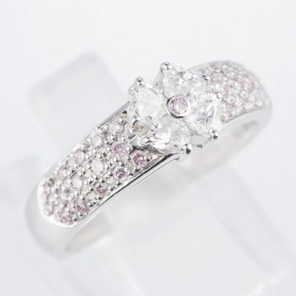 ダイヤモンド プラチナリング D: 0.43ct 0.25ct Pt900 フラワー