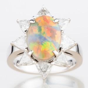 2.87ct セミブラックオパールダイヤモンドプラチナリング