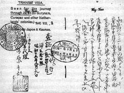Ein von Sugihara erteiltes Transitvisum