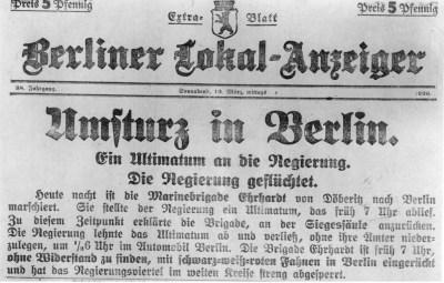 Extrablatt-Schlagzeile des Berliner Lokal-Anzeiger vom Mittag des 13. März