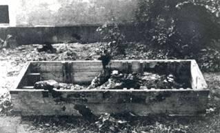 Die Überreste Hilters und Eva Brauns