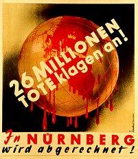 Plakat zu den Nürnberger Kriegsverbrecherprozessen.