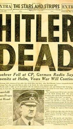 schlagzeile in stars and stripes der zeitung der us streitkrfte nach hitlers tod - Hitlers Lebenslauf