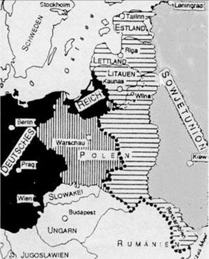 Aufteilung Osteuropas nach der Niederschlagung Polens