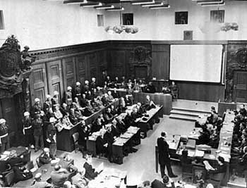 Gerichtssal während der Nürnberger Prozesse