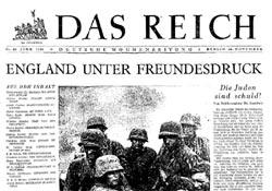 """Titelblatt der NS Wochenzeitung """"Das Reich"""" vom 16. November 1941."""