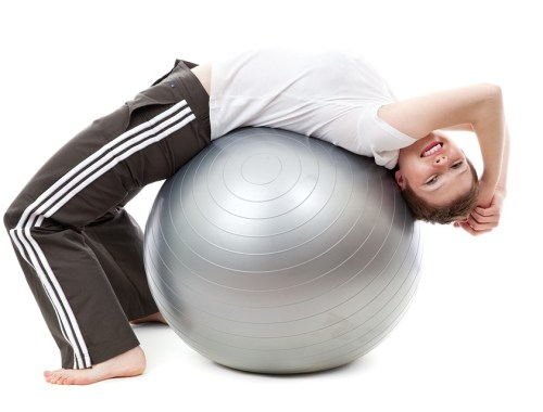 woman on yoga ball