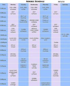 aerobic schedule