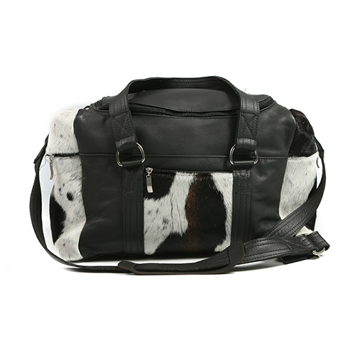 Zulucow Nguni cowhide leather weekend bag tricolour black brown and white travel bag travel accessories holdall luggage