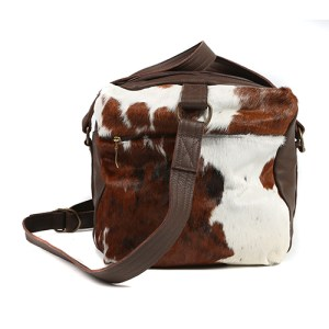 Zulucow Nguni cowhide leather weekend bag tricolour brown black white travel bag holdall travel accessories luggage