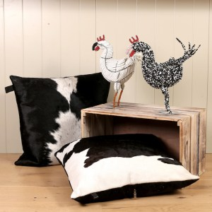 beaded chicken ornaments, chicken egg baskets, cowhide cushions home interiors, interiors, soft furnishings, luxury cushions