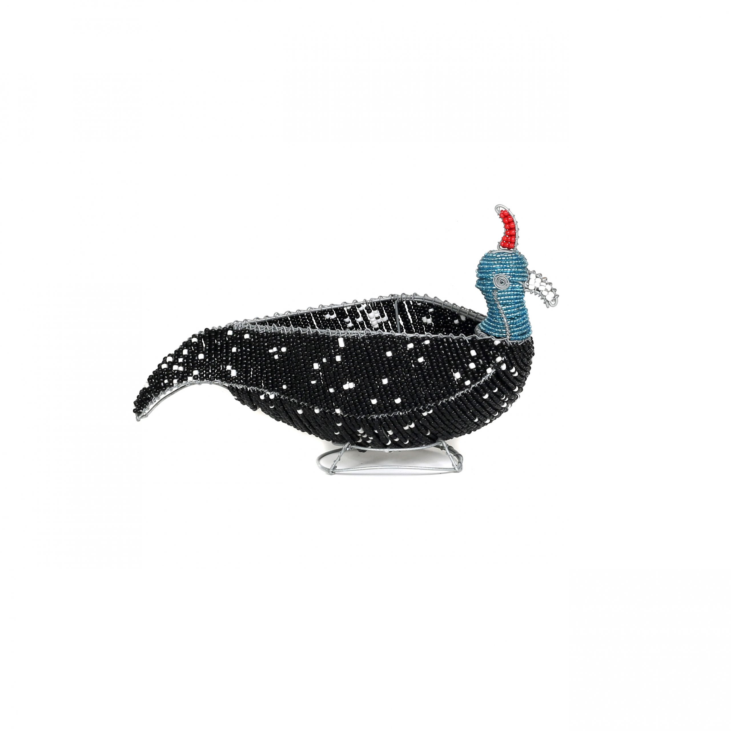 gorgeous colourful beaded guinea fowl, beaded sculptures, beaded art, gifts, childrens' gifts