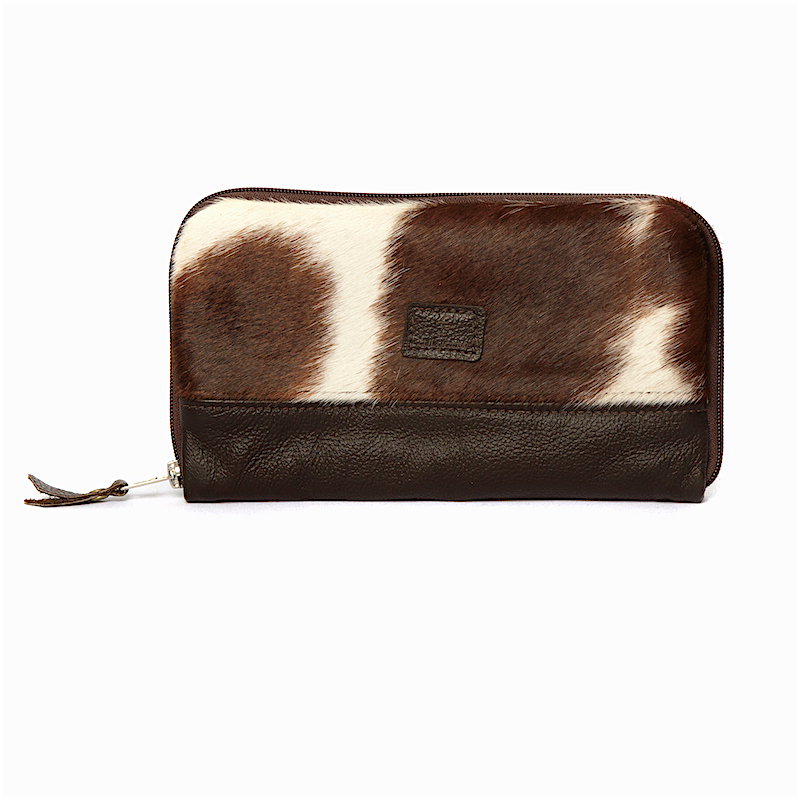 travel wallet, cowhide bag, leather bag clutch, clutchbag, brown & white, evening bag, cowhide accessories, evening bag, fashion accessories