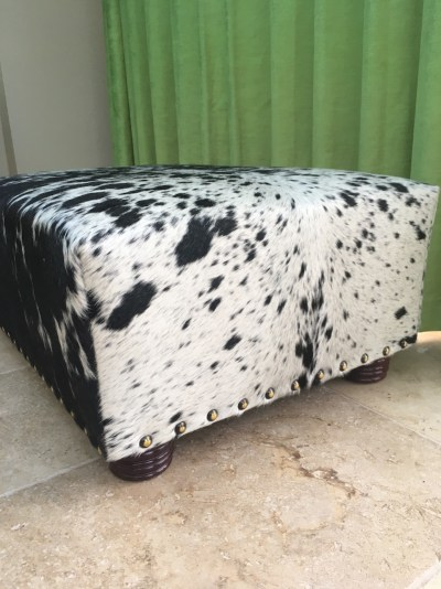 Dramatic Zulucow ottoman, custom-made by our established, high quality upholsterer, to a client's specifications.
