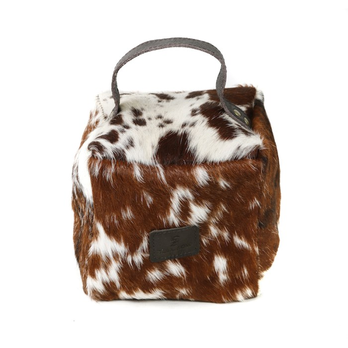 Zulucow Nguni ethically and sustainably sourced cowhide door stop, brown and white door stop, interiors, home accessories, christmas unisex presents