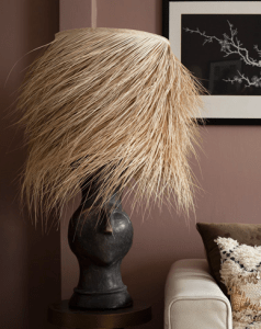 Rockett St George, eclectic table lamp - Boho African grass style lamp shade, eclectic interiors,