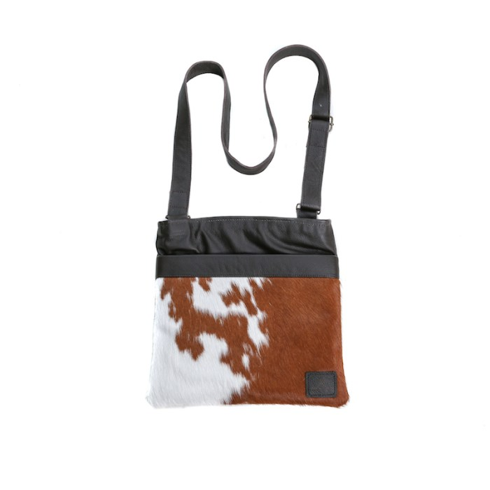 bags-leather-crossbody-bags-messenger bags, cowhide-bags -brown and white, leather bags, fashion accessories, women's accessories, handmade bags, artisan made, socially conscious brand, sustainable fashion