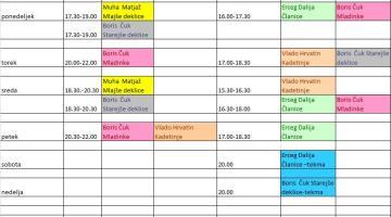 Treningi v času od 12.10.2015 - 18.10.2015