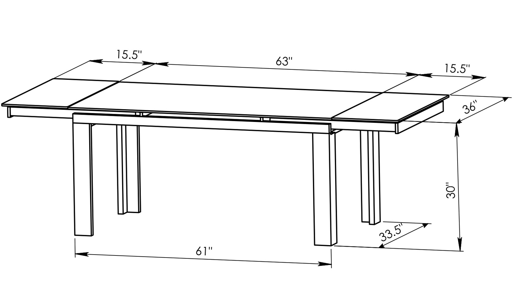 Enzo Expandable Modern Dining Table With Glass Top