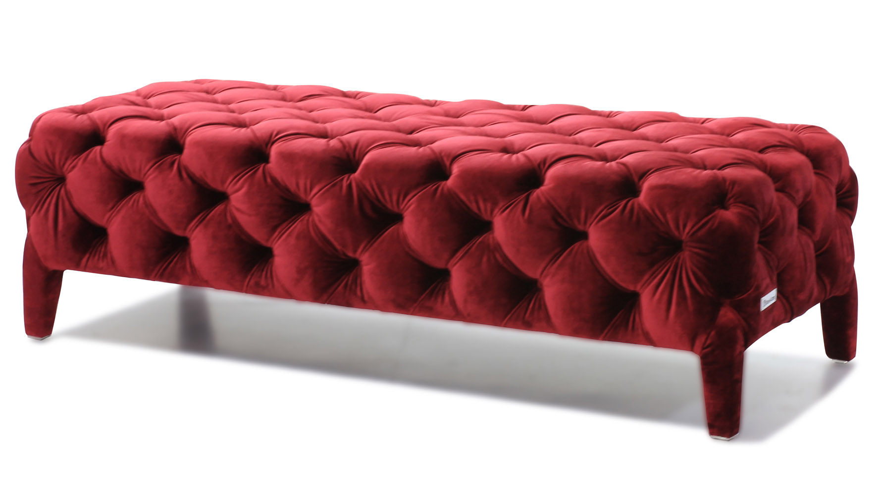 modern red velour tufted oslo bedroom bench | zuri furniture