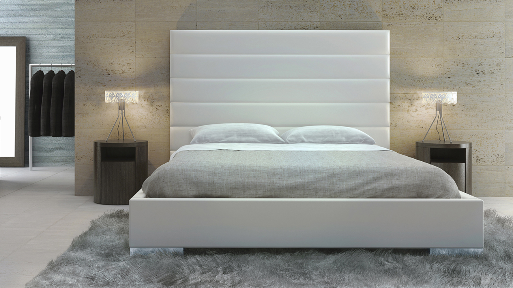 White Leather California King Bed