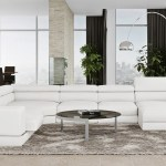 Wynn White Leather Sectional Sofa With Adjustable Headrests Zuri Furniture