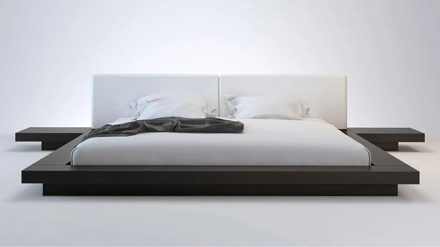 White Leather And Wenge Brookline Platform Bed Zuri Furniture