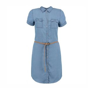 Hailys Damen Kleid Jeanskleid Penny blue mit Gürtel Art. JN-1808074