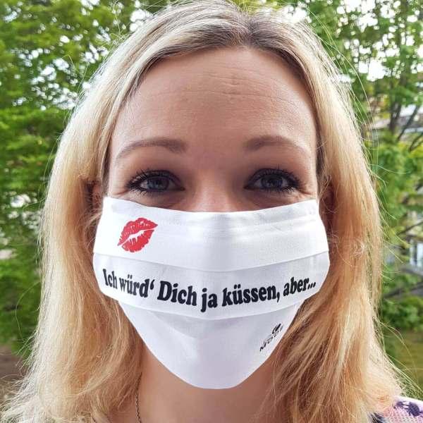 """Gesichtsmaske mit Humor / Sprüche """"Ich würd' Dich ja küssen"""" Frau"""