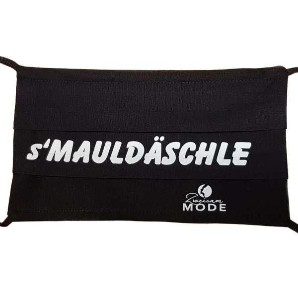 Gesichtsmaske wiederverwendbar mit Spruch: s'Mauldäschle in schwarz handarbeit von Zweisam Mode aus Schonach im Schwarzwald