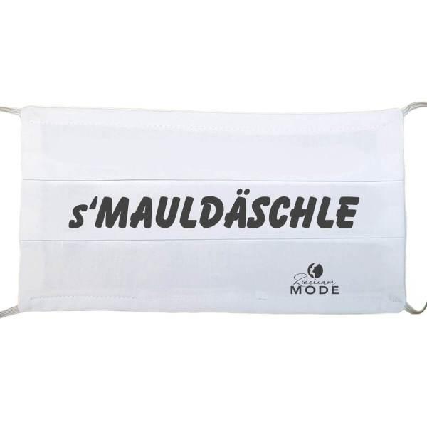 """Gesichtsmaske wiederverwendbar lustig mit Humor / Sprüche mit """"s' Mauldäschle"""" aus Schonach im Schwarzwald"""