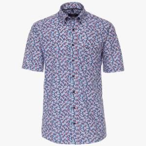 Herren Hemd Freizeit halbarm CasaModa alloverprint rot und blau Front
