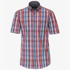 Herren Hemd halbarm karo rot blau von Casamoda Front