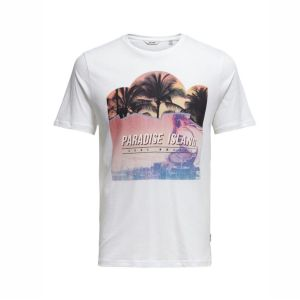 Only&Sons T-Shirt mit Paradise Island Print in weiss Artikel 22013066 Front