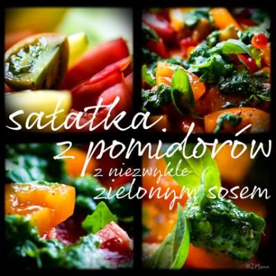 z widokiem na stol | sałatka z pomidorów z zielonym sosem