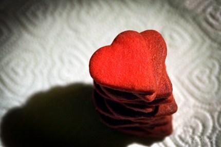 z widokiem na stół | kruche czerone serca