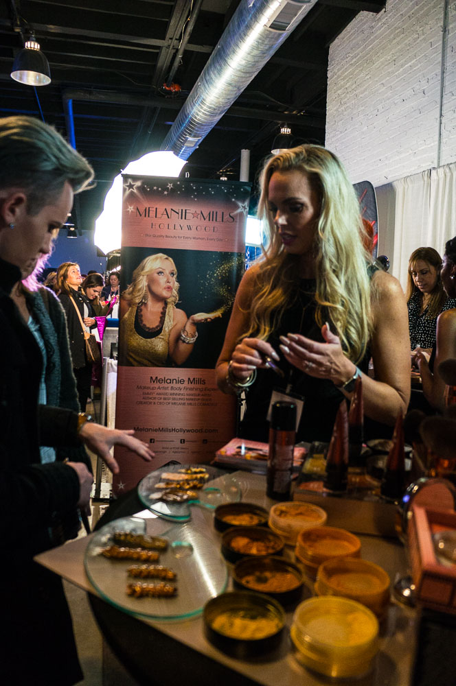 Makeup arist Alexa Rogers at the Melanie Mills Hollywood booth