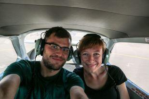 W samolocie przed lotem nad liniami Nazca Peru