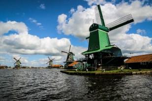 Okolice Amsterdamu Zaanse Schans wiatraki