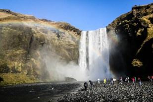 Islandia Skogafoss tęcza