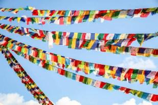 Nepal Katmandu stupa Bodnath flagi modlitewne
