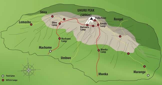 Mapa trasa Machame 6 dni