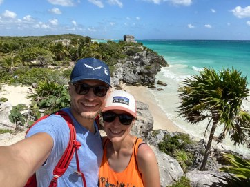 Tulum iguana i morze