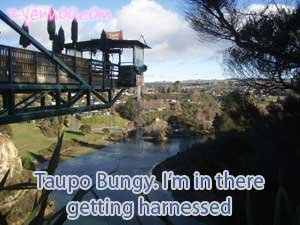 Taupo Bungy. I'm in there getting harnessed.