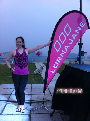 Me with the Lorna Jane banner
