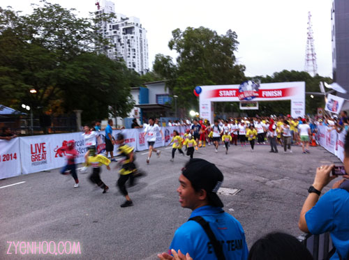 The kids running before the gun to start the 3km family run