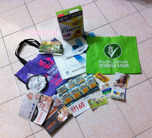What we received in the goodie bag. Lots of vouchers and goods, including kuih!