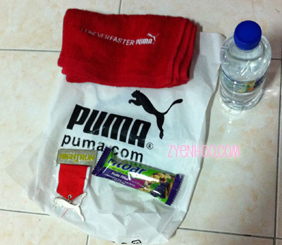 What we got at the Finish line. The towel was not too bad, although when first used, red fluffs kept coming off it