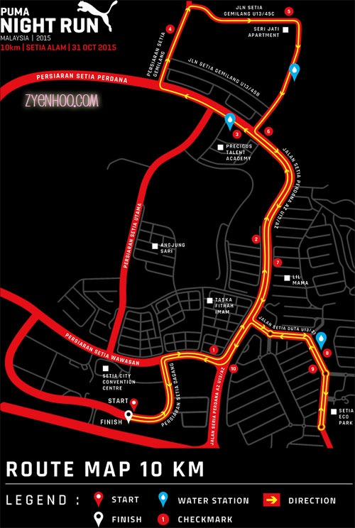 Planned route that was on the PUMA Night Run's website
